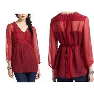 Anthropologie Meadow Rue Misha Ruched Sheer Blouse